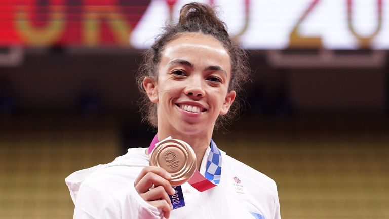 Great Britain's Chelsie Giles receives her bronze medal (AP)