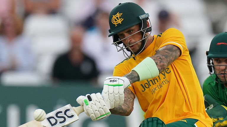 Alex Hales blitzed an unbeaten 31 from nine balls to take Notts past Yorkshire