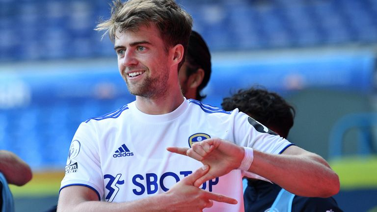 Patrick Bamford celebrates a goal by making a lightning bolt signal with his hands (PA)
