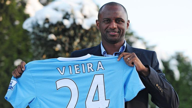 Patrick Vieira is unveiled as a Manchester City player