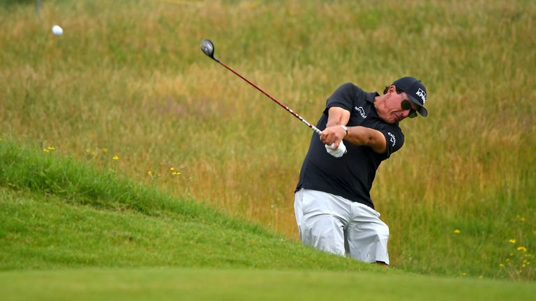 Phil Mickelson navigates his way around Royal St George's in Monday's practice round