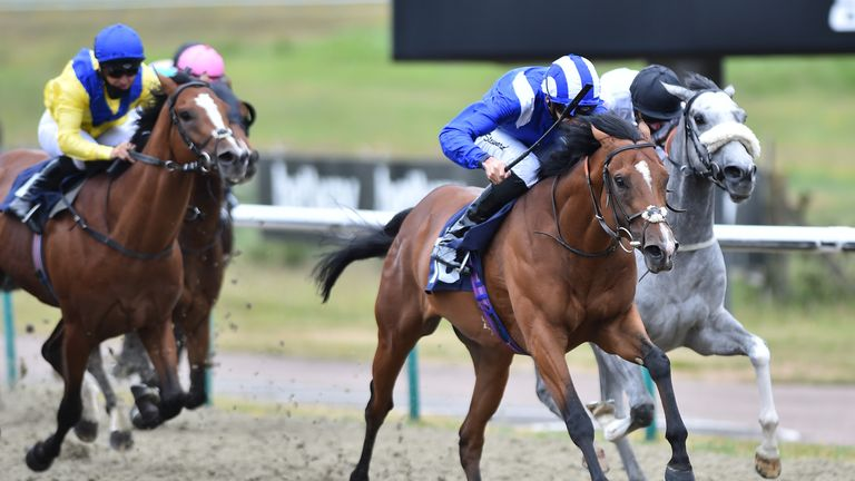 George Boughey's Atheeb runs in race four on the opening night of the Racing League at Newcastle on Thursday