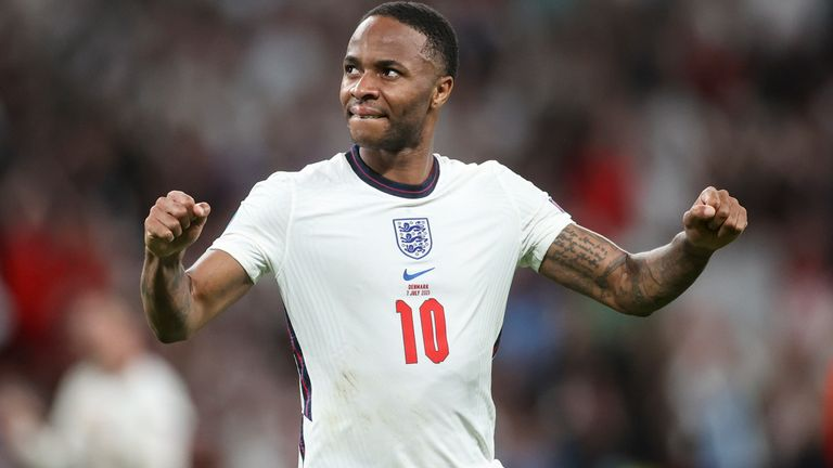 Raheem Sterling celebrates England's 2-1 win over Denmark at Wembley