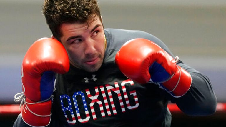 USA Boxing team member Richard Torrez Jr. takes part in drills during a media day for the team in a gym located in a converted Macy...s Department store Monday, June 7, 2021, in Colorado Springs, Colo. (AP Photo/David Zalubowski)...................