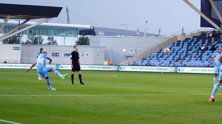 Riyad Mahrez's superb free-kick gave City the lead against Prestonat their academy stadium