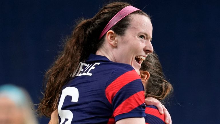 Rose Lavelle celebrates her opening goal for the USA