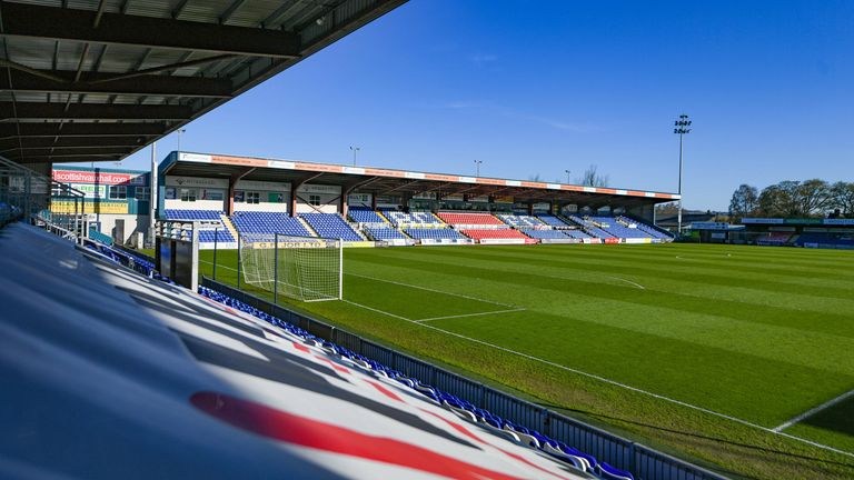DINGWALL , SCOTLAND - APRIL 21: A general view of the Global Energy Stadium during a Scottish Premiership match between Ross County and St Mirren at the Global Energy Stadium, on April 21, 2021, in Dingwall, Scotland. (Photo by Ross MacDonald / SNS Group)