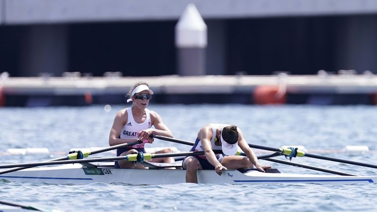 Heartbreak for Great Britain's Emily Craig and Imogen Grant as they are edged into fourth by just 0.01 of a second  in the Lightweight Women's DoubleSculls final in Tokyo