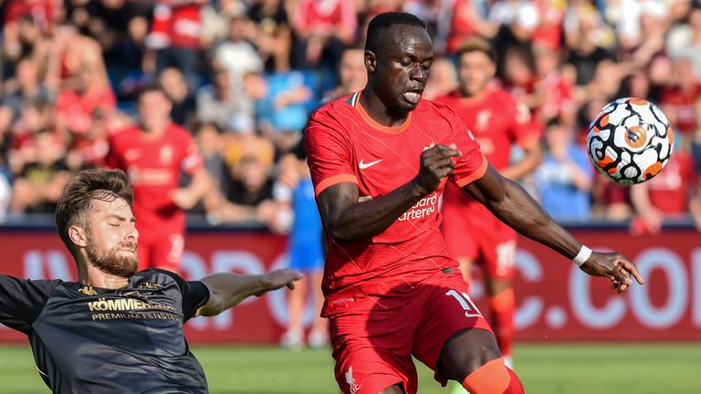 Sadio Mane in action for Liverpool in friendly vs Mainz