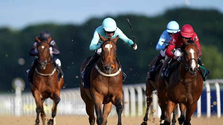 Paul Mulrennan rides Saluti to victory for Team Arena in the first race of the Racing League