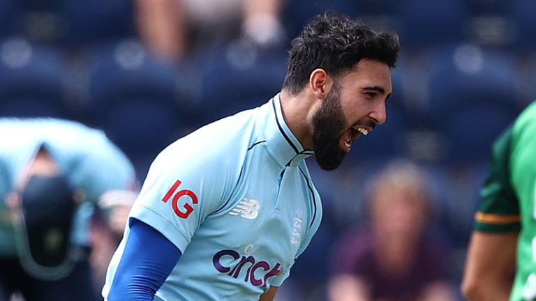 Saqib Mahmood took two wickets with his first three balls to get England off to a flyer in Cardiff