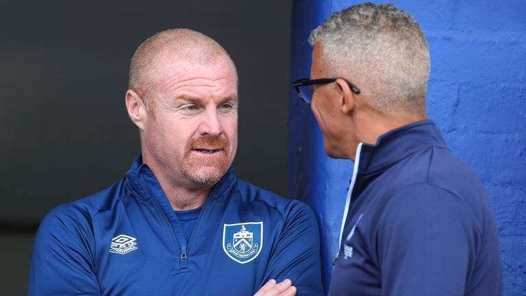 Sean Dyche and Keith Curle chat ahead of the pre-season friendly at Boundary Park