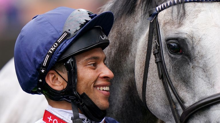 Sean Levey is all smiles after victory on Snow Lantern at Newmarket