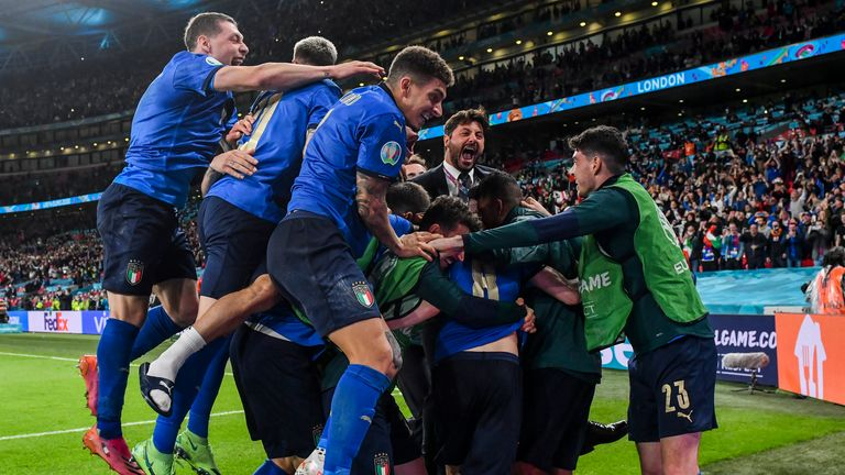 Italy celebrate their Euro 2020 victory over Spain