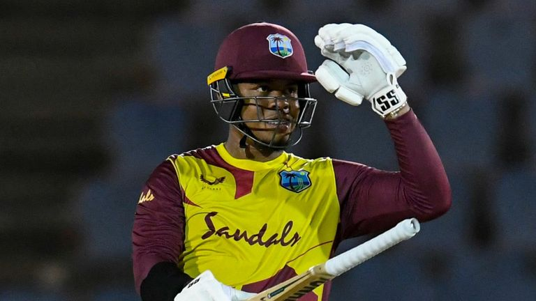 Shimron Hetmyer struck four sixes and two boundaries in his 61 off 36 balls for the West Indies