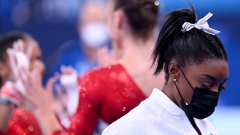 Simone Biles is pictured after she withdraws from the women's team final