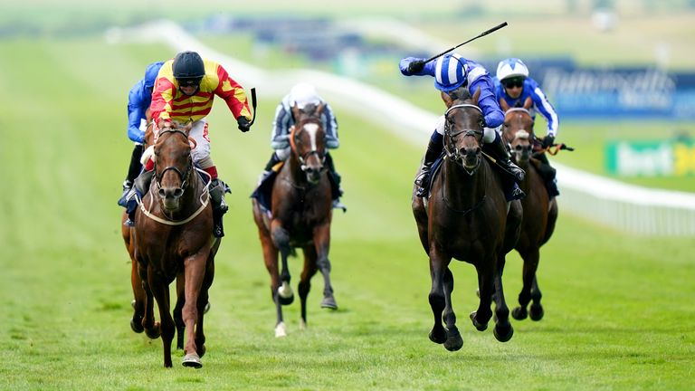 Sir Ron Priestley (yellow and red) gets to the line in front of Al Aasy in the Princess of Wales's Tattersalls Stakes