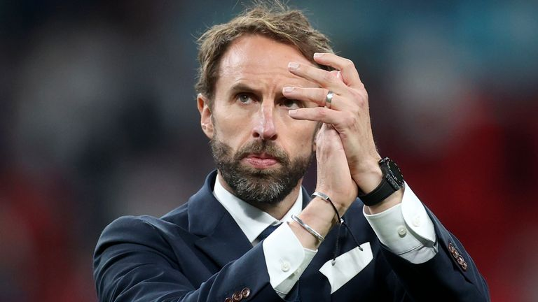 Gareth Southgate applauds the fans at Wembley after England's defeat