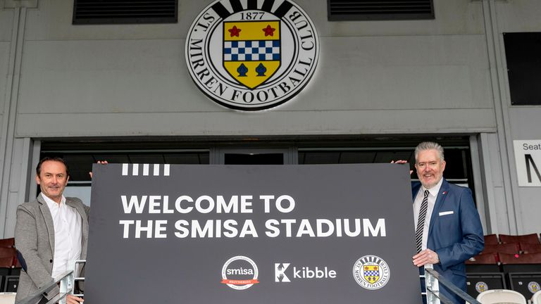George Adam and Gordon Scott at the newly-named SMISA stadium after St Mirren became fan-owned (photographer Allan Picken)