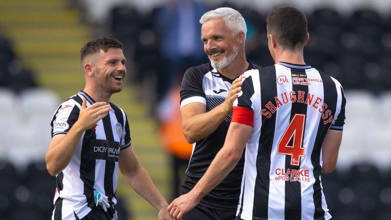 St Mirren manager Jim Goodwin celebrates at full time