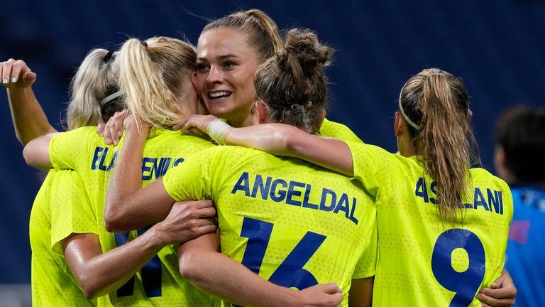 Sweden's Stina Blackstenius celebrates scoring her side's second goal