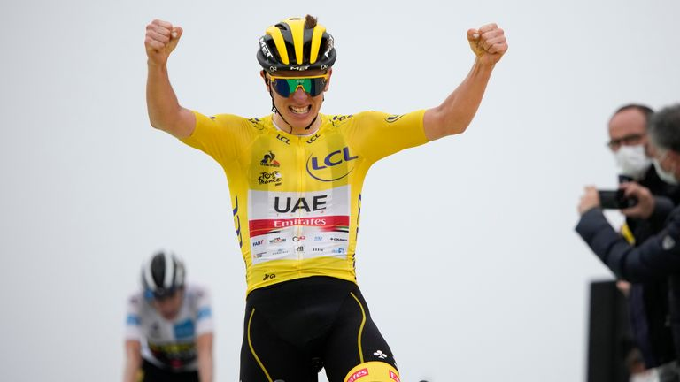 Tadej Pogacar won his second stage of the Tour de France to extend his overall lead and close in on back-to-back successes (AP)