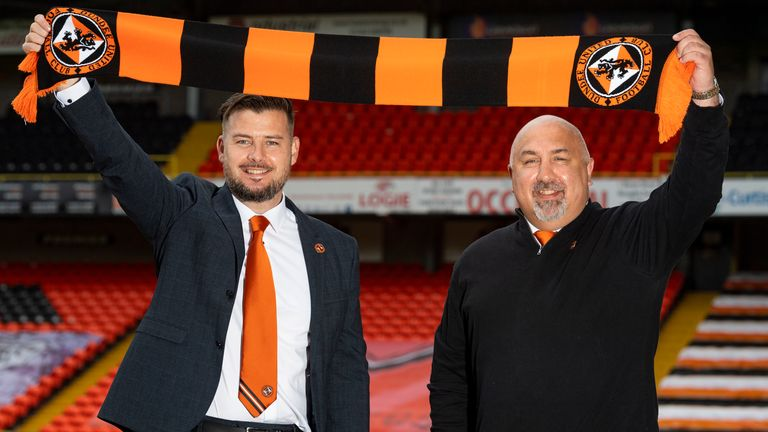 Tam Courts is the new Dundee United boss, pictured with sporting director Tony Asghar
