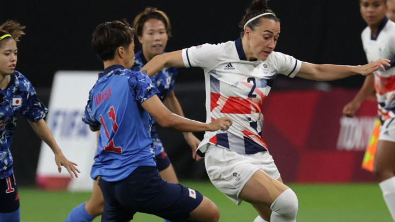 Lucy Bronze in action for Team GB against Japan