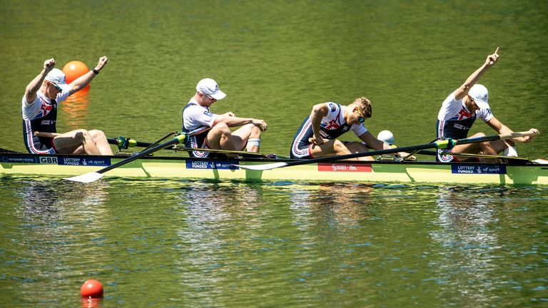 Rory Gibbs (second from right) won the Men's Four Final A at the 2019 European Rowing Championships