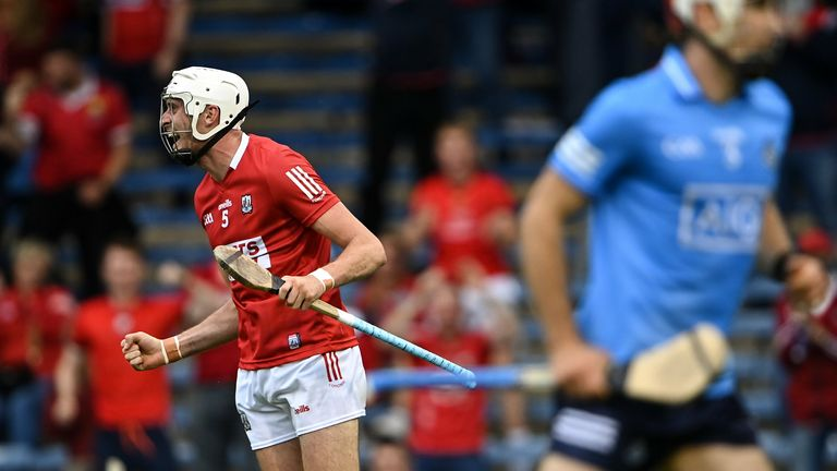 31 July 2021; Tim O'Mahony of Cork celebrates after scoring his side's first goal during the GAA Hurling All-Ireland Senior Championship Quarter-Final match between Dublin and Cork at Semple Stadium in Thurles, Tipperary. Photo by Piaras .. M..dheach/Sportsfile