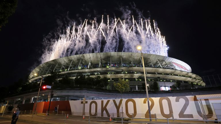 The Opening Ceremony of the Tokyo 2020 Olympic Games is held at National Stadium in Shinjuku Ward, Tokyo on July 23, 2021. Fireworks are launched during the Opening Ceremony. ( The Yomiuri Shimbun via AP Images )