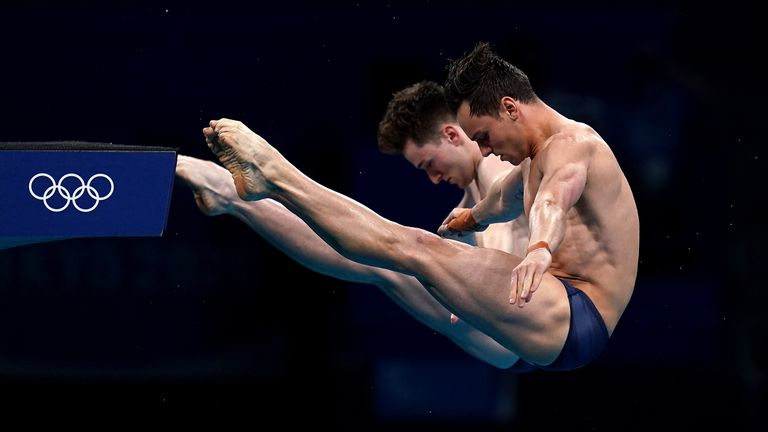 Great Britain's Tom Daley (right) and Matty Lee during the Men's Synchronised 10m Platform Final at the Tokyo Olympics