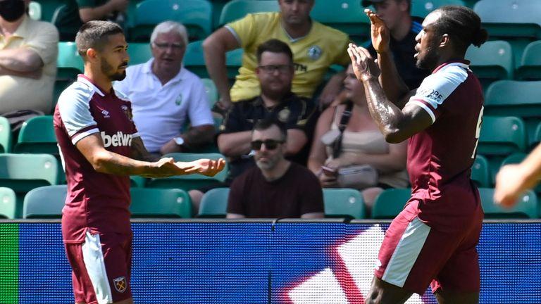West Ham's Michail Antonio celebrates his equaliser