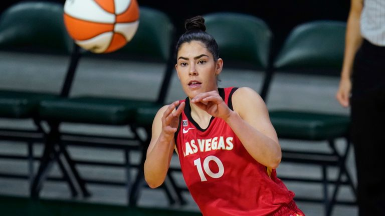 Las Vegas Aces' Kelsey Plum in action against the Seattle Storm at a WNBA Basketball game Saturday 15 May 2021, in Everett, Washington (AP Photo/Elaine Thompson)