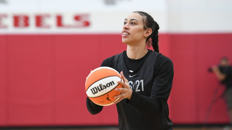 LAS VEGAS, NV - JULY 13: Dearica Hamby #5 of Team WNBA shoots the ball during  during the 2021 AT&T WNBA All-Star Practice and Media Availability on July 13, 2021 at  the Mendenhall Center in Las Vegas, Nevada. NOTE TO USER: User expressly acknowledges and agrees that, by downloading and or using this photograph, User is consenting to the terms and conditions of the Getty Images License Agreement. Mandatory Copyright Notice: Copyright 2021 NBAE (Photo by David Becker/NBAE via Getty Images)