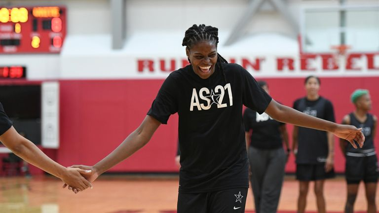 LAS VEGAS, NV - JULY 13: Jonquel Jones #35 of Team WNBA smiles during the 2021 AT&T WNBA All-Star Practice and Media Availability on July 13, 2021 at  the Mendenhall Center in Las Vegas, Nevada. NOTE TO USER: User expressly acknowledges and agrees that, by downloading and or using this photograph, User is consenting to the terms and conditions of the Getty Images License Agreement. Mandatory Copyright Notice: Copyright 2021 NBAE (Photo by David Becker/NBAE via Getty Images)