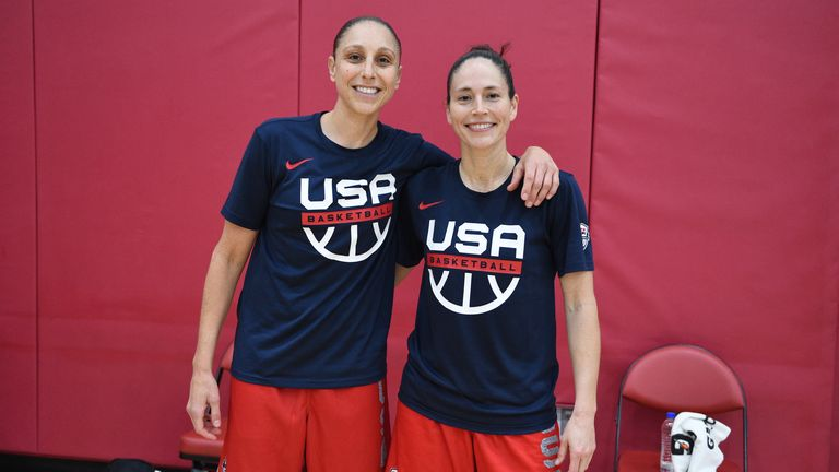 LAS VEGAS, NV - JULY 13: Sue Bird #6 and Diana Taurasi #12 of the USA Women's National Team pose for a photo during the 2021 AT&T WNBA All-Star Practice and Media Availability on July 13, 2021 at the Mendenhall Center in Las Vegas, Nevada. NOTE TO USER: User expressly acknowledges and agrees that, by downloading and or using this photograph, User is consenting to the terms and conditions of the Getty Images License Agreement. Mandatory Copyright Notice: Copyright 2021 NBAE (Photo by David Becker/NBAE via Getty Images)