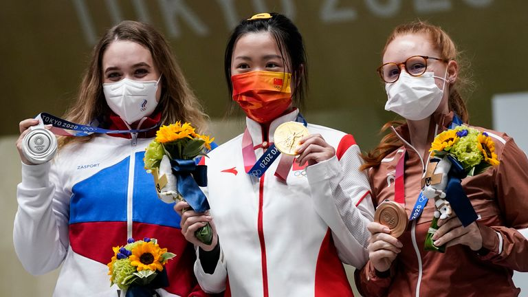 China's Yang Qian won the first gold medal of the Games ahead of Russian Anastasiia Galashina and Switzerland's Nina Christen