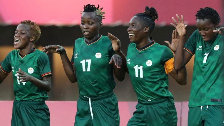 Barbra Banda (second right) scored another hat-trick for Zambia on Saturday
