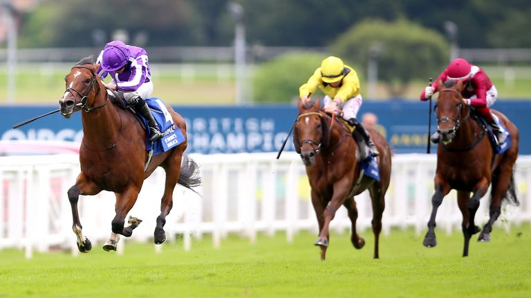 St Mark's Basilica ridden by Ryan Moore (left) wins The Coral-Eclipse on Coral-Eclipse Day of The Coral Summer Festival 2021 at Sandown Park racecourse, Esher.