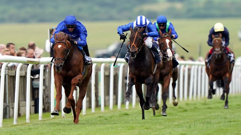Yibir ridden by jockey James Doyle on their way to winning the Bahrain Trophy Stakes during Ladies Day of the 2021 Moet and Chandon July Festival at Newmarket racecourse. Picture date: Thursday July 8, 2021.