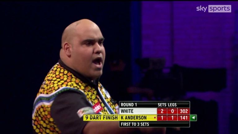 Watch Anderson's nine-darter against Ian White at the 2014 Worlds at Alexandra Palace