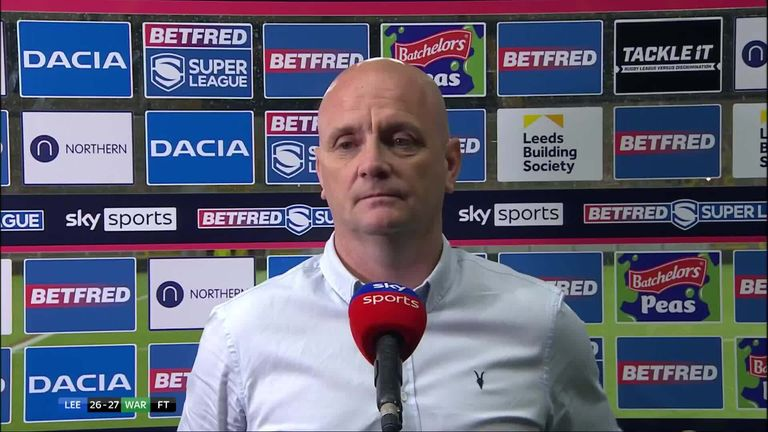 Leeds Rhinos coach Richard Agar gives his reaction after seeing his side lose by one point to Warrington
