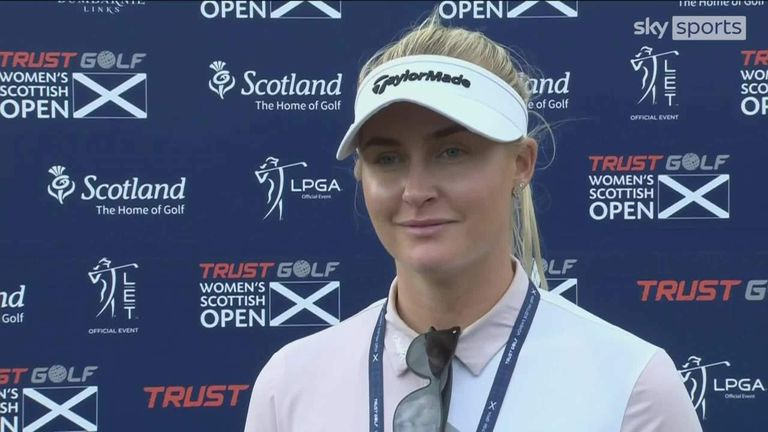 Highlights and reaction from Charley Hull's third-round 69 at the Women's Scottish Open, where she moved into a three-way tie for the lead