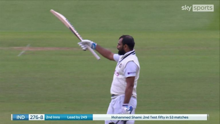 Mohammed Shami smashed a huge six off Moeen Ali to reach his fifty off just 57 balls