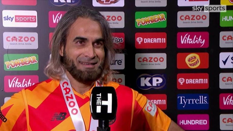 Imran Tahir gives his reaction after grabbing the first hat-trick of the Hundred for the Birmingham Phoenix.