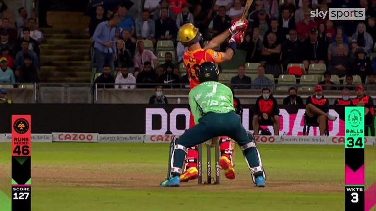 Birmingham Phoenix's Moeen Ali smashed three successive sixes against Oval Invincibles in The Hundred clash at Edgbaston