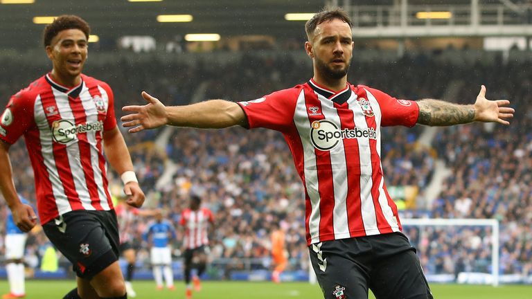 Adam Armstrong of Southampton celebrates after scoring their side's first goa