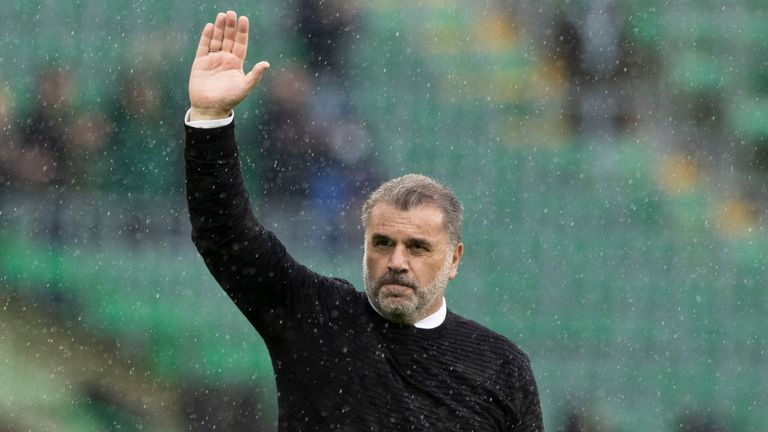 Celtic manager Ange Postecoglou salutes the crowd after the Scottish Premiership game against Dundee