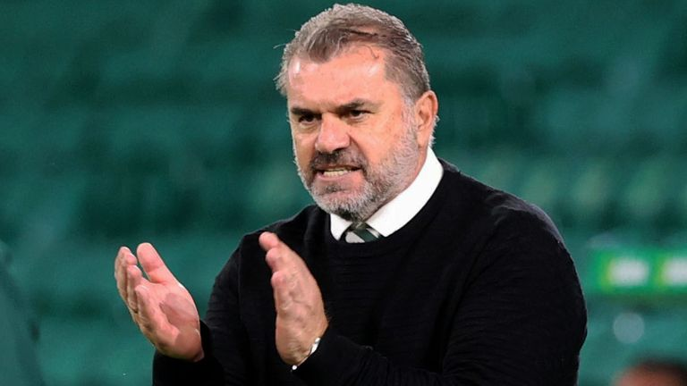Manager Ange Postecoglou congratulates his players after guiding Celtic into the Europa League play-offs